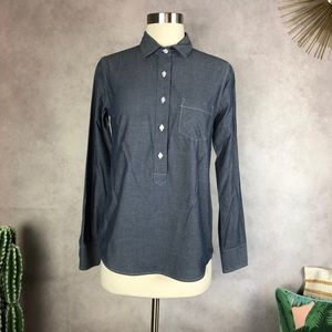 Marine Layer Chambray Popover Long Sleeve Blouse